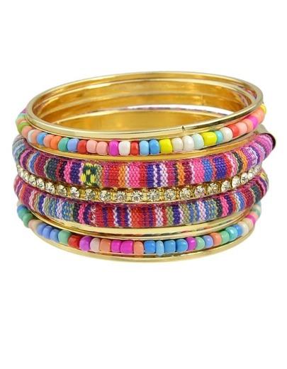 Colorful Beads Chunky Bangles