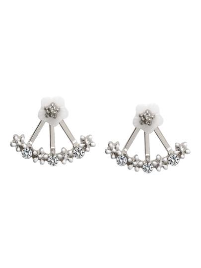 Silver Plated Fan Shaped Rhinestone Flower Stud Earrings