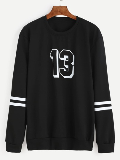 Black Number Print Varsity Striped Sweatshirt