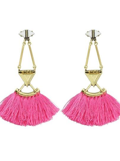 Hotpink Tassel Chain Long Drop Earrings