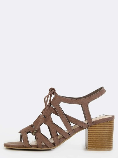 Faux Suede Cut Out Block Heels TAUPE