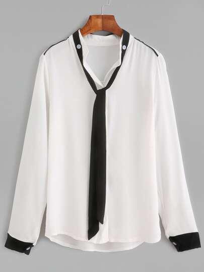White Contrast Detachable tie Shirt