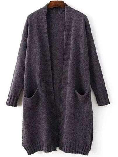 Blue Collarless Ribbed Trim Slit Long Sweater Coat