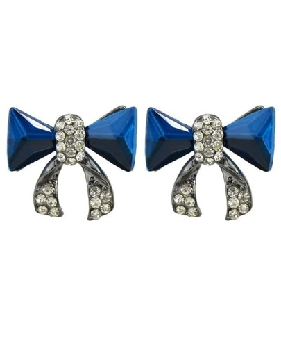 Blue Bow Tie Shape Stud Earrings