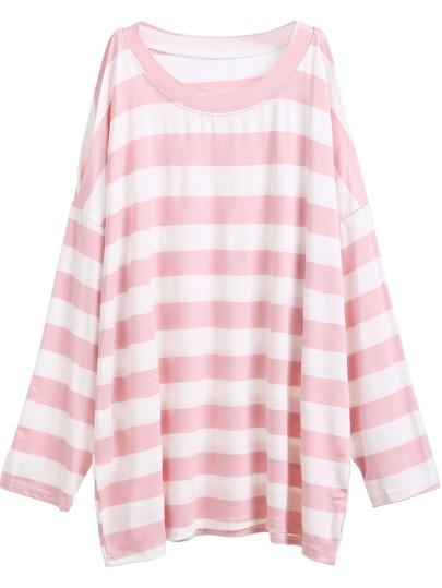 Pink Striped Open Shoulder Side Split T-shirt