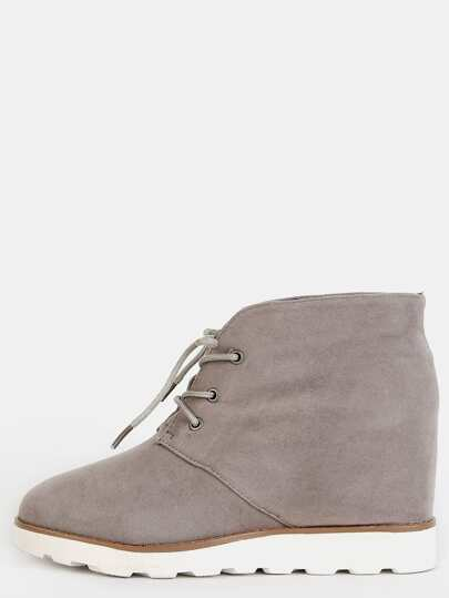Round Toe Faux Suede Wedge Boots TAUPE