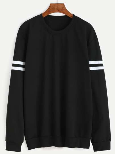 Black Varsity Striped Sweatshirt