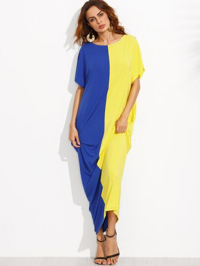 Colorblock Pocket Short Sleeve Maxi Dress