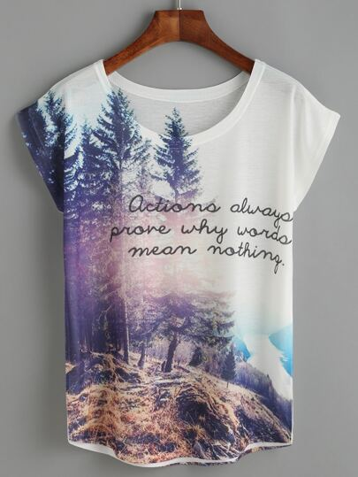 White Forest View Print T-shirt