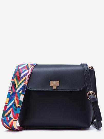 Black Wide Strap PU Flap Shoulder Bag