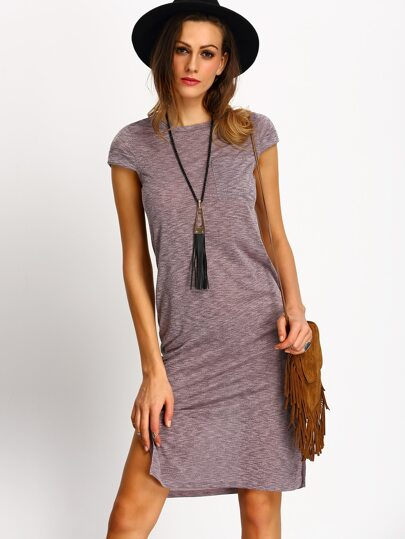Purple Cap Sleeve Pockets Side Slit Dress