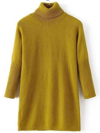 Green Turtle Neck Ribbed Detail Long Sweater