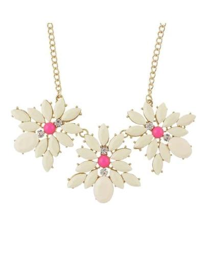 Beige Gemstone Statement Flower Necklace