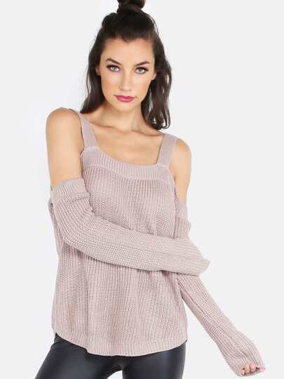 Sleeved Cold Shoulder Knitted Top MOCHA