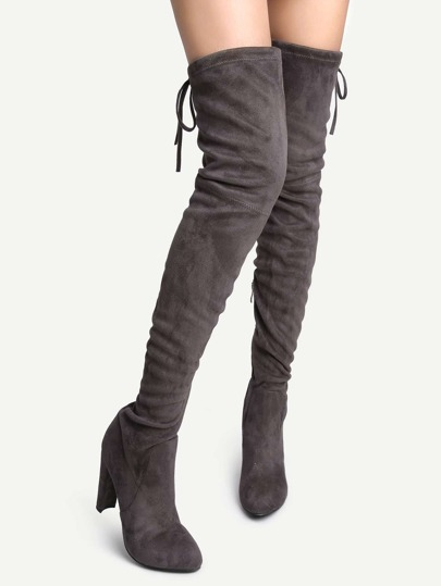 Grey Suede Point Toe Over The Knee Boots