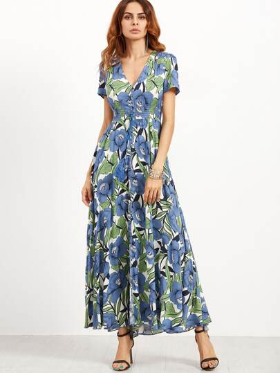 Flower Print V Neck Button Drawstring Elastic Waist Dress
