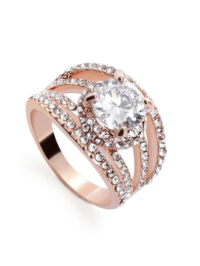 Pink Rhinestone Encrusted Hollow Out Ring