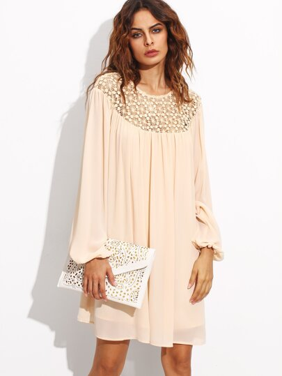 Apricot Hollow Out Crochet Neck Lantern Sleeve Dress