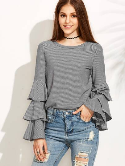 Black Striped Layered Bell Sleeve Blouse