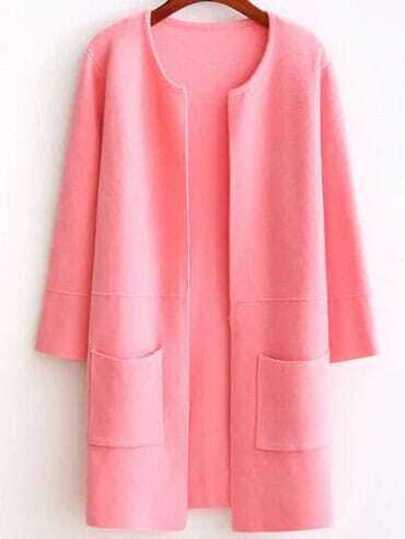 Pink Collarless Longline Cardigan With Pockets