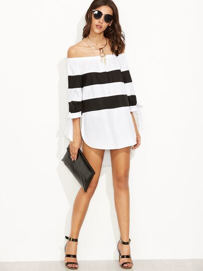 Contrast Striped Off The Shoulder Bow Tie Sleeve Blouse