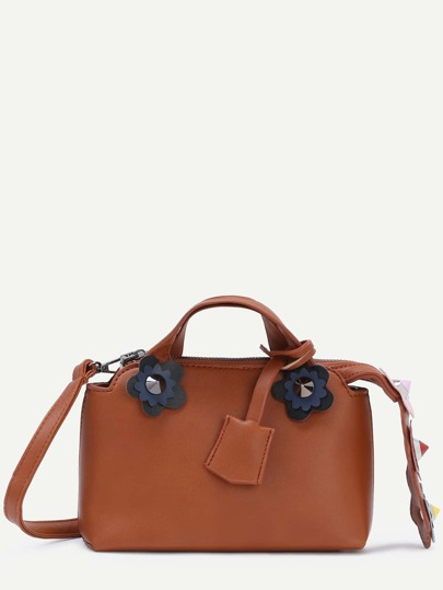 Brown PU Flower Studded Embellished Zipper Convertible Bag