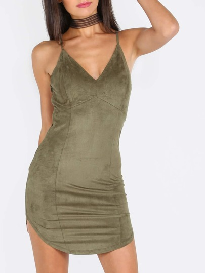 Green Spaghetti Strap Criss Cross Back Bodycon Dress