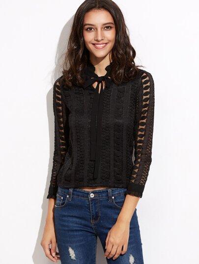 Black Bow Tie Neck Crochet Blouse