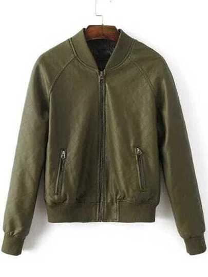 Army Green Diamond Pattern PU Bomber Jacket