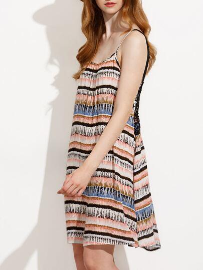 Multicolor Striped Sleeveless Crochet Back Dress