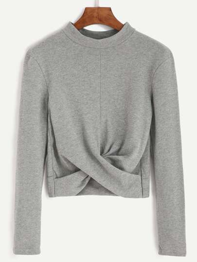 Camiseta escote mock twist crop - gris