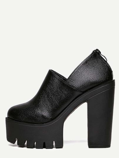 Schuhe mit Plattform und Reißverschluss - schwarz