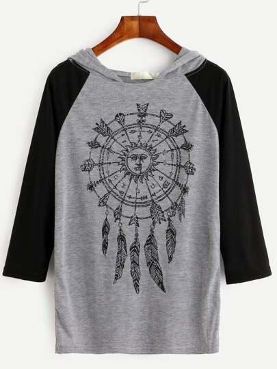 Color Block Drawing Print Raglan Sleeve Hooded T-shirt