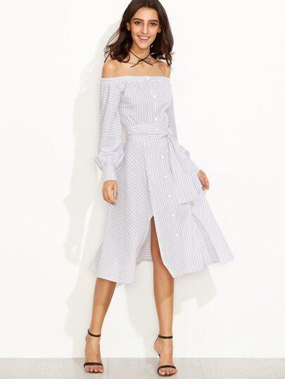 Striped Off The Shoulder Tie Waist Split Dress