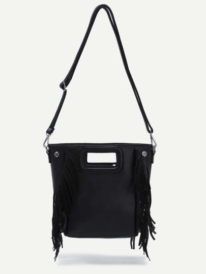 Black Cut Out Handle Fringe Shoulder Bag
