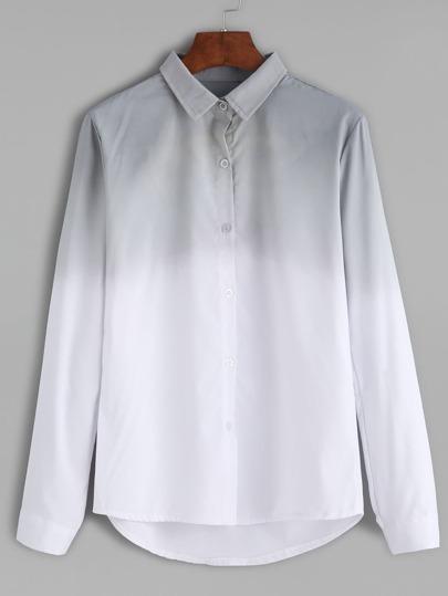 Chemise à revers manche longue avec boutons - gris