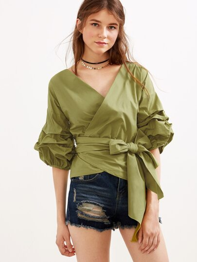 Army Green V Neck Lantern Sleeve Pleated Bow Tie Waist Top