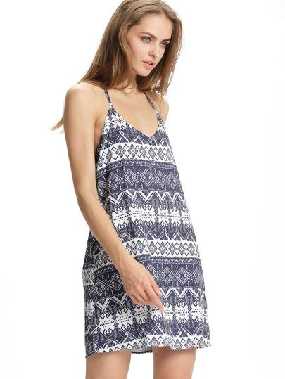 White Navy Halter Backless Geometric Print Dress