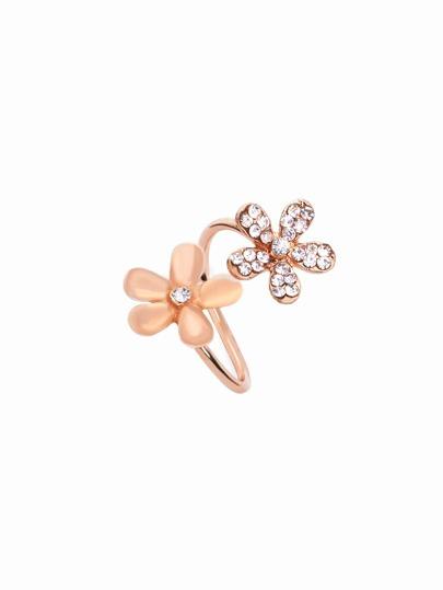 gewickelte Ring mit Gänseblümchen Strass - rosa