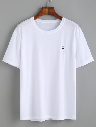 White Smiley Face Embroidered T-shirt