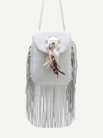 White Feather Embellished Fringe Trim Flap Bag