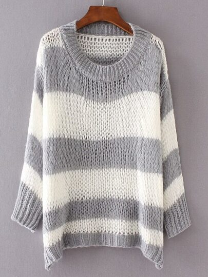 Grey Contrast Wide Striped Drop Shoulder Sweater