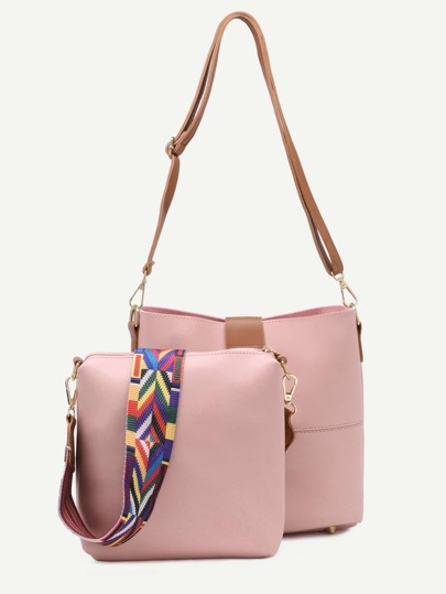 Pink D Ring Closure Geometric Strap Bag With Crossbody Bag