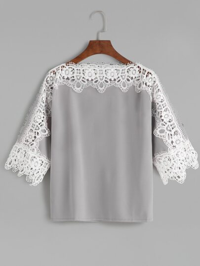 Grey Contrast Crochet Trim Hollow Out T-shirt