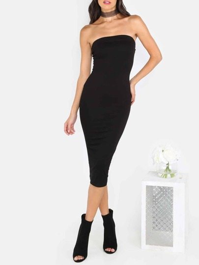 Black Tube Sleeveless Sheath Midi Dress