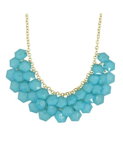 Blue Gemstone Statement Bib Necklace