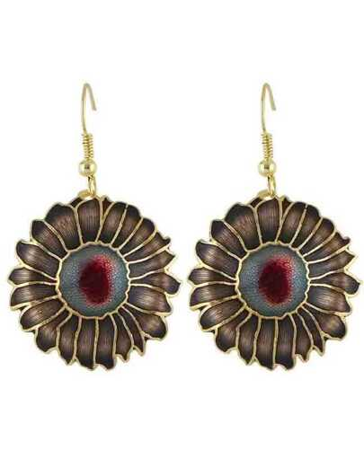 Black Enamel Big Flower Earrings