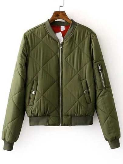Army Green Zipper Up Quilted Padded Bomber Jacket
