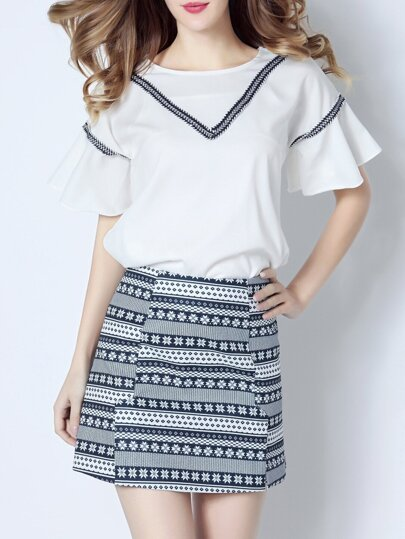 White Ruffle Sleeve Top With Print Skirt