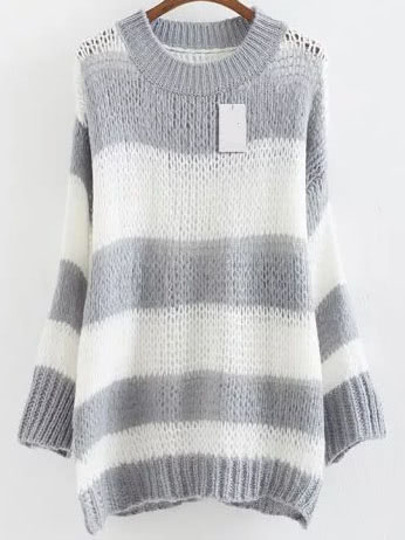 Grey Striped Ribbed Trim Drop Shoulder Mohair Sweater